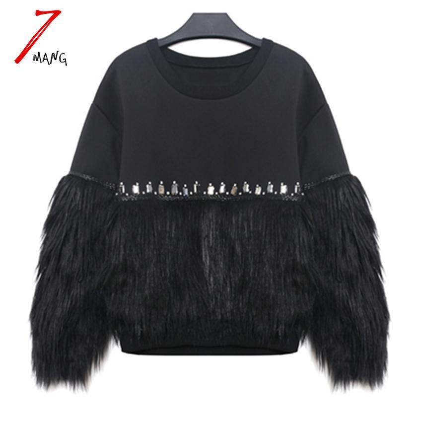 All'ingrosso- 7mang 2017 nuove donne moda punk in pelliccia patchwork felpe diamante bordare o collo nero pullover