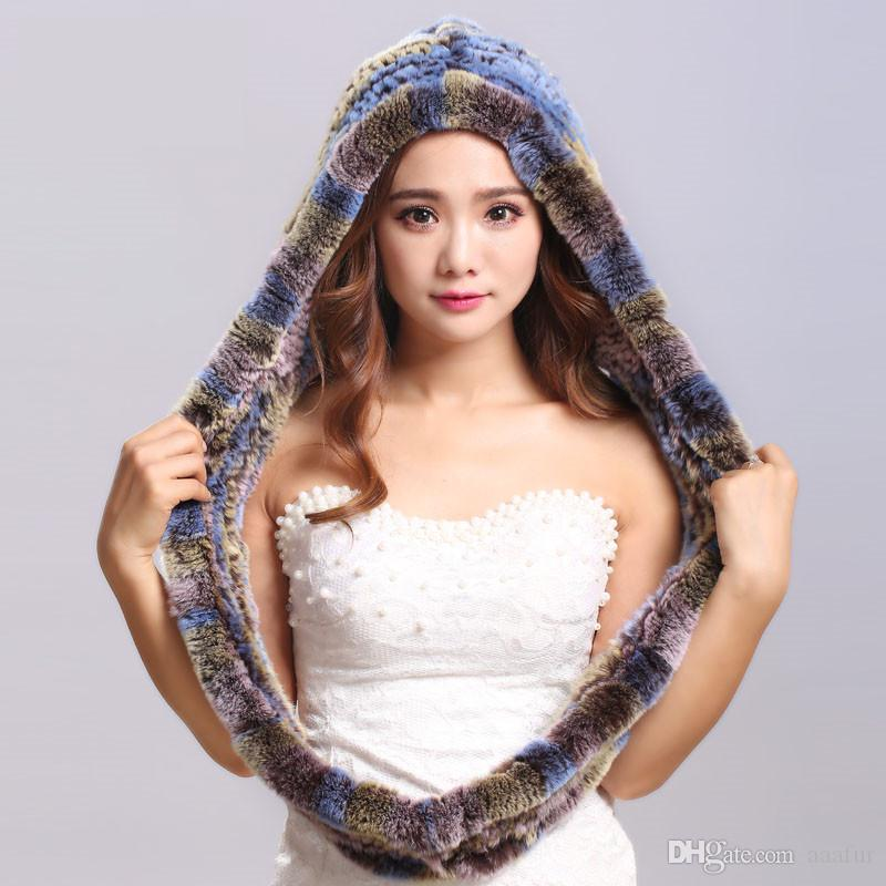 Winter Scarves Fur With Genuine Fur Hats For Women New Female Elegant Knit Real Rex Rabbit Fur Scarves Hooded