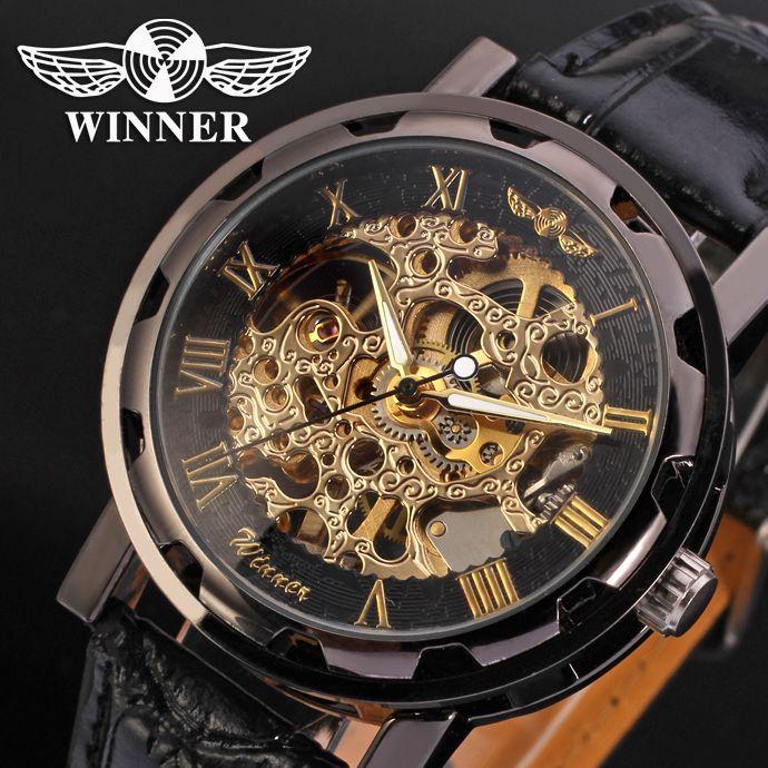 Winner Fashion Gold Black Roman Number Dial Luxury Design Clock Mens Watch Top Brand Cool Mechanical Skeleton Male Wrist Watches