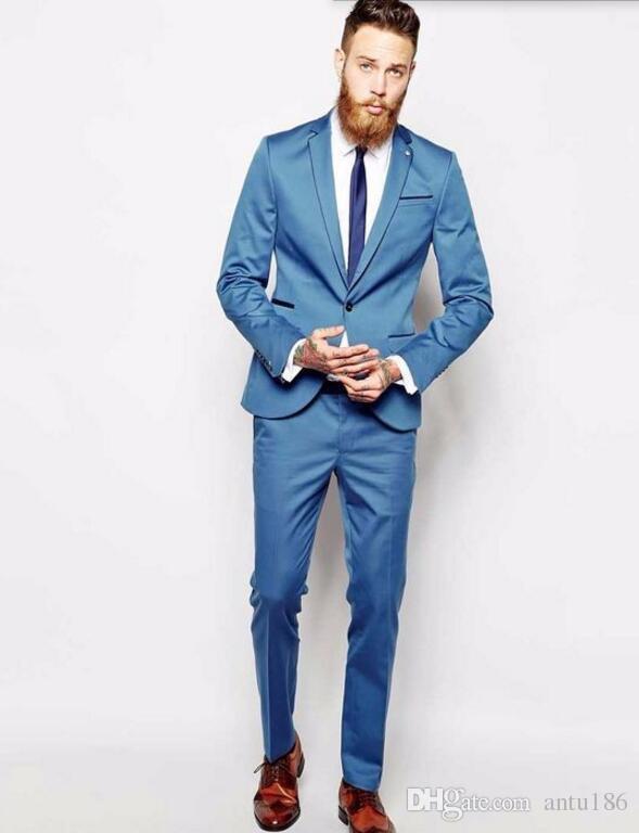 Mavi Damat takımları Smokin yeni varış Düğün Balo Parti Erkekler Sağdıç Giymek Için En Iyi Adam Suit Suits (Ceket + Pantolon)