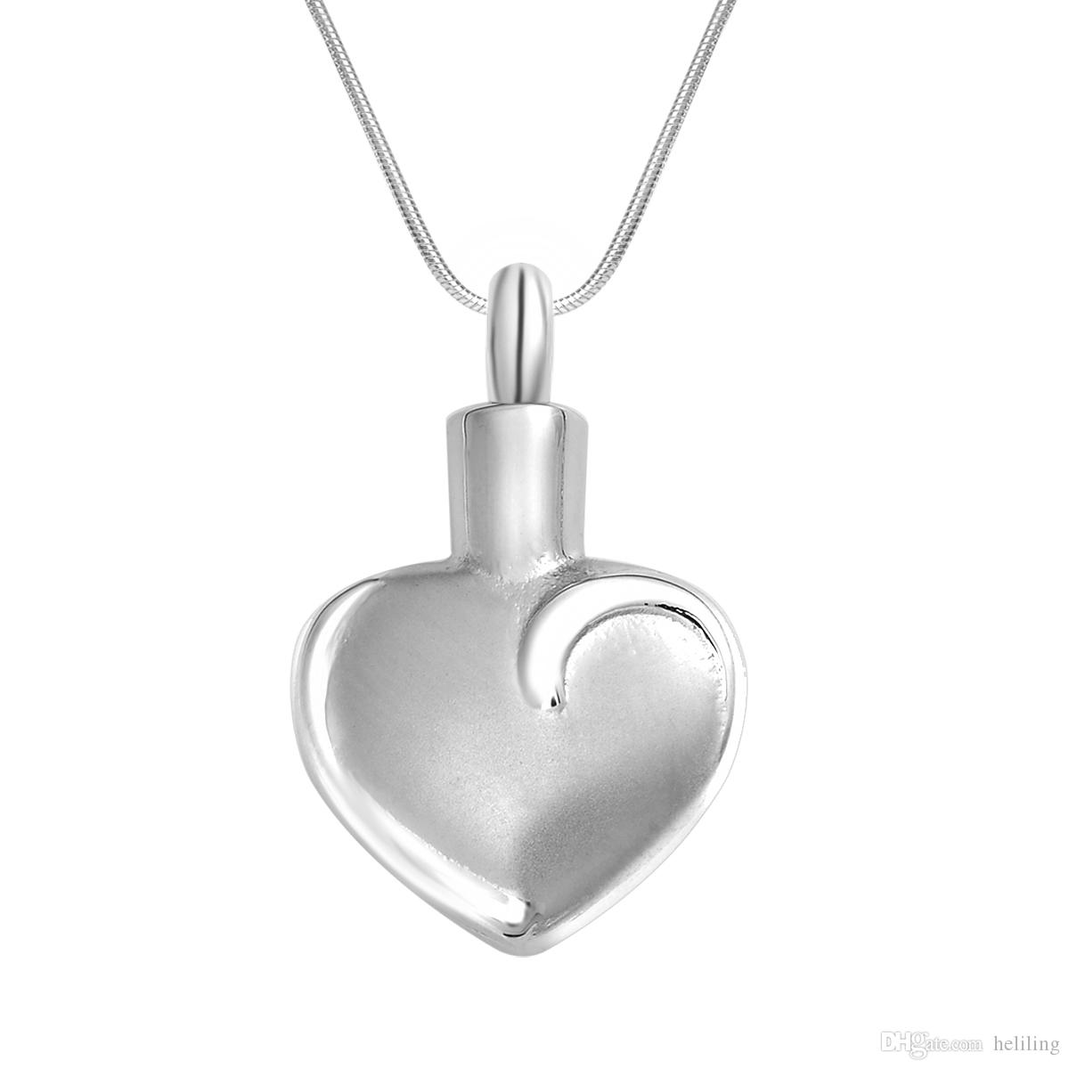 316L Stainless Steel Cremation Jewelry Urn Necklace Heart Love Memorial Keepsake Ashes Holder Pendant Funnel for Ash