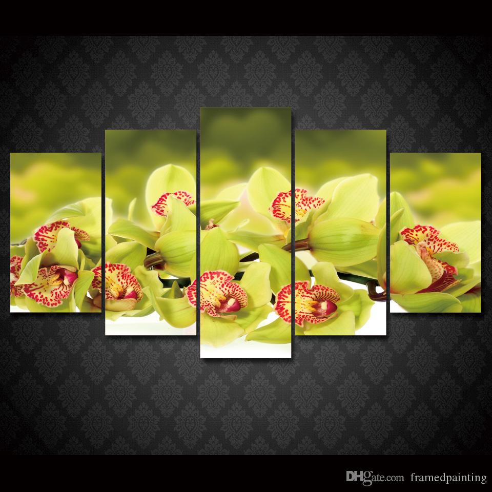 5 Pcs/Set Framed HD Printed Light Green Orchid Flower Picture Wall Art Canvas Print Decor Poster Abstract Canvas Oil Painting
