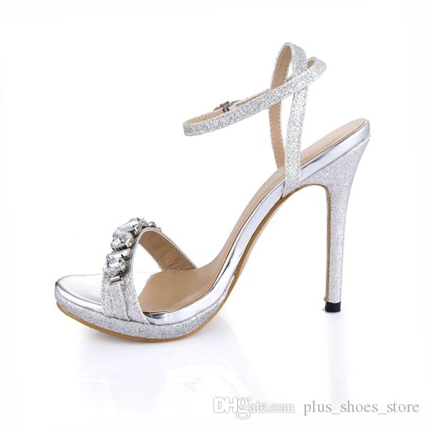 Crystal Bridal Women Buckle Strap 2017 High Summer Style Sandals Cheap Modest Plus Size Ladies Party Shoes Hot Sale
