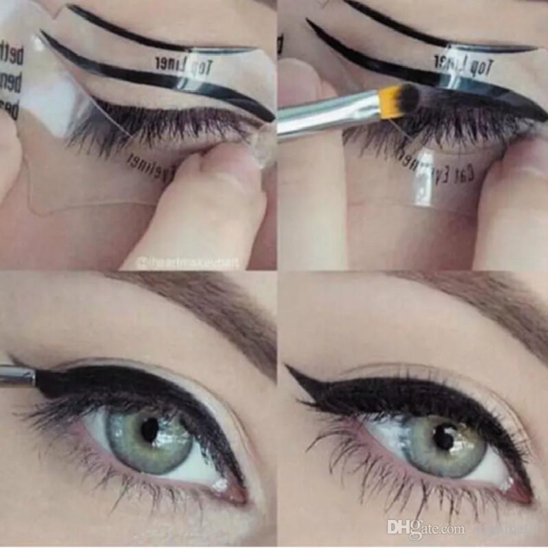 Nueva 110pcs 2 estilos Belleza Delineador de ojos Smokey Gato modelos de la plantilla Plantilla de la talladora del Eyeliner de herramientas