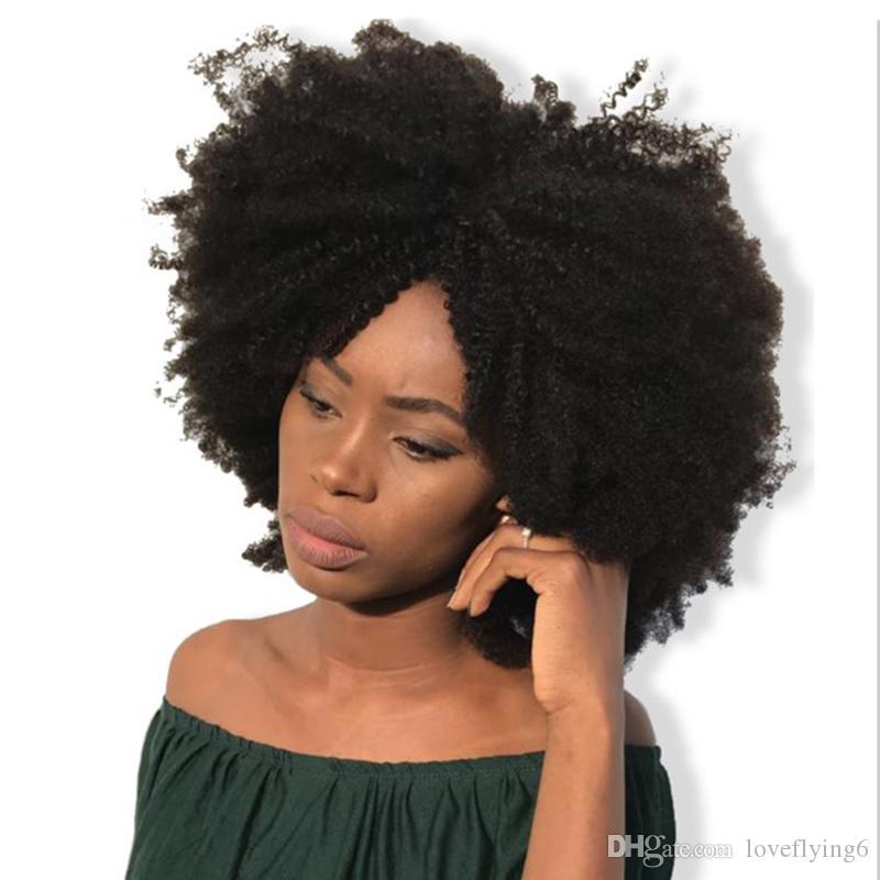 Top qualité courte Afor crépus bouclés perruque Simulation cheveux humains crépus bouclés pleine perruque pour les femmes livraison gratuite