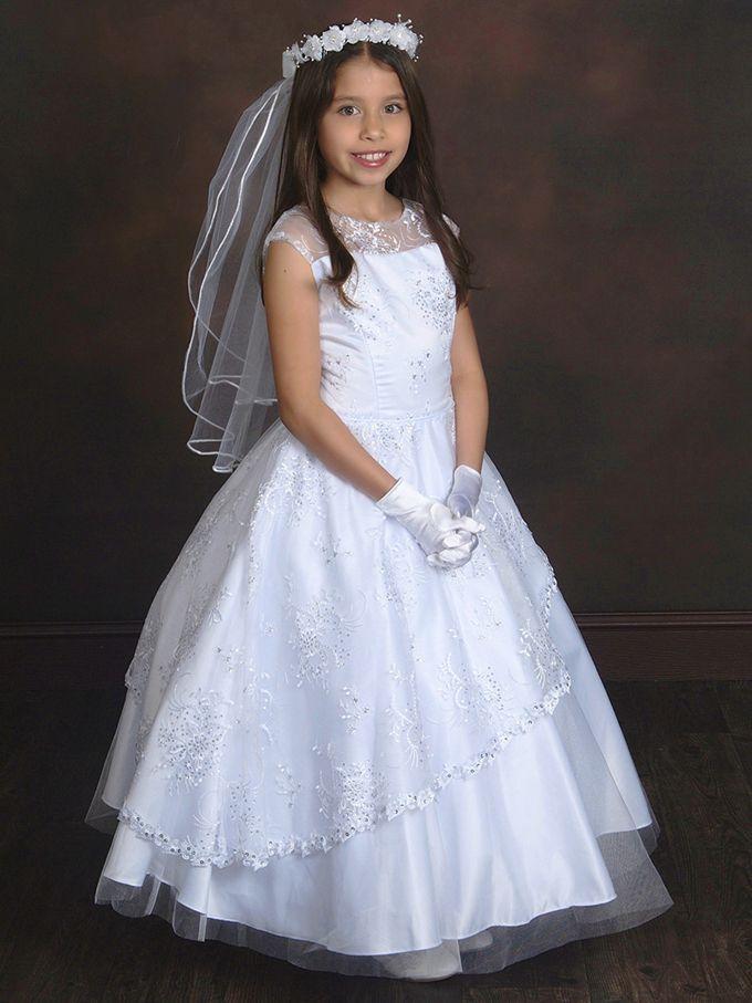 2017 First Communion Dresses Illusion Neckline Flower Girls White Satin Tulle Kids Dress For Weddings