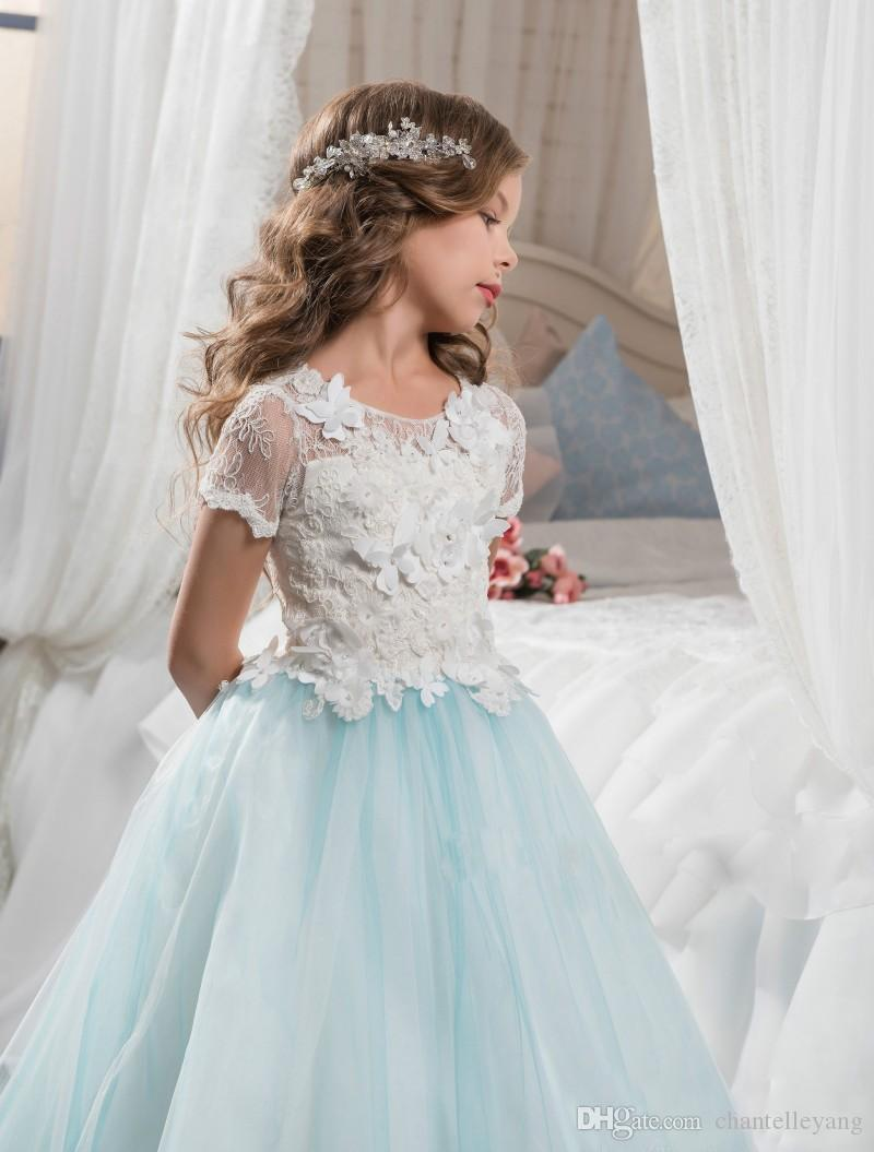 New Arrival Blue And White Kids Formal Dress Lace Sleeves Crew Tutu