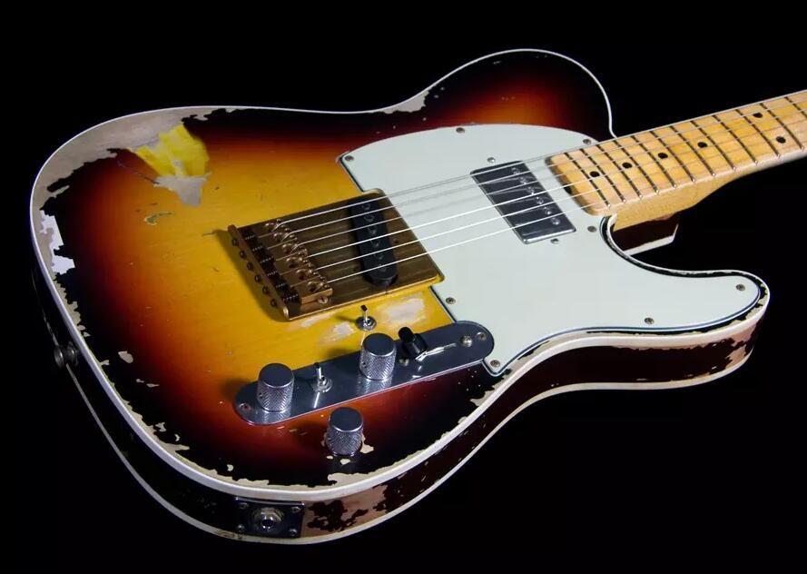 Masterbuilt Andy Summers 3 Tone Sunburst Relic Tele Guitar Electric Guitar Gode، القيقب الرقبة، Humbucker Pickup، Whie PickGuard، المستقبلون خمر