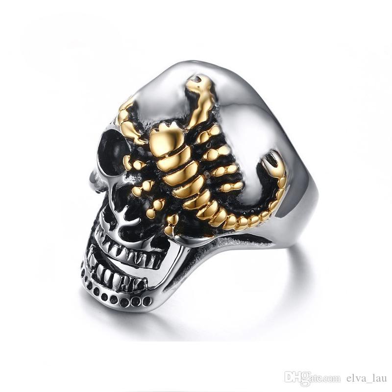 Japan Korea Mode-Männer Ringe hoch Edelstahl poliert Mens Hip Hop Schmuck Goldene Scorpio Skull Ring für Männer