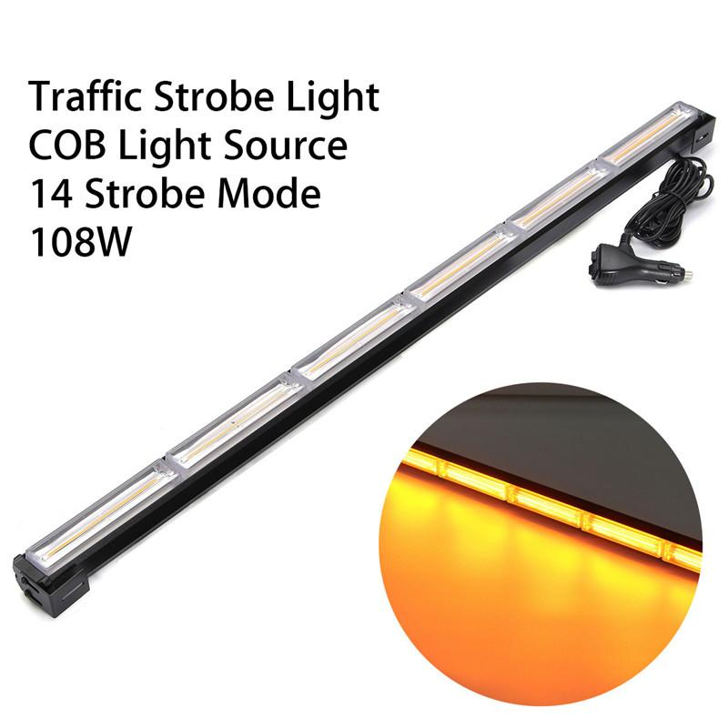 108W COB Yellow LED White Flashing Light Bar Traffic Strobe Light Vehicle Car Emergency Warning Lamp