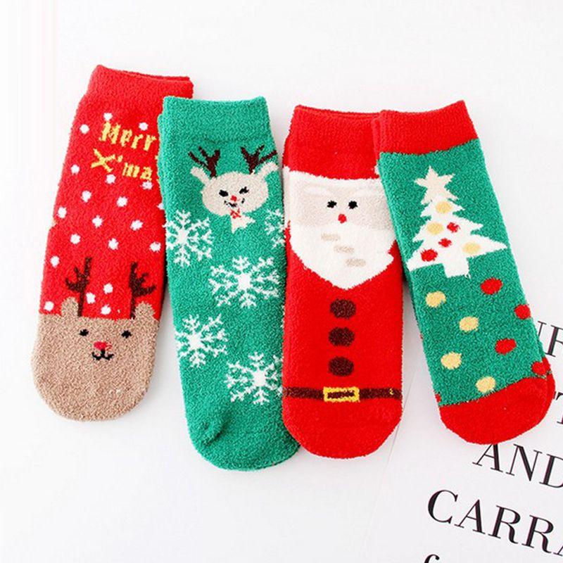 60Pairs New Women Christmas Socks Nuovo design 3D Cartoon Elk Snowman Santa Socks Donna Autunno Inverno Calze calde di Natale