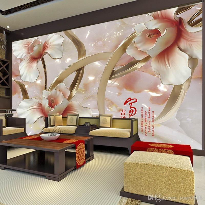 fashion 3d home decor beautiful marble 3d flower custom wallpaer fashion decor home decoration for bedroom - 3d Home Decor