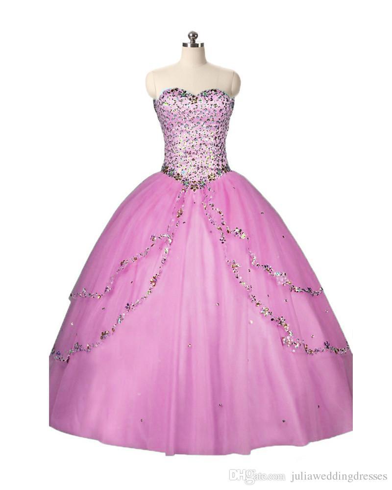 2017 de moda Sweetheart Crystal Ball vestido de quinceañera vestido con lentejuelas Tulle Plus Size Sweet 16 vestido Vestido Debutante vestidos BQ77
