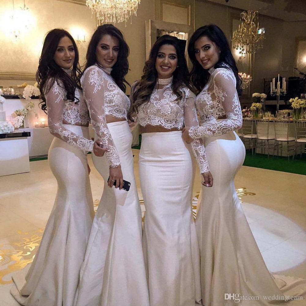 Großhandel Mode Elfenbein Zwei Stücke Brautjungfern Kleider High Neck  Langarm Spitze Formale Abendkleider Sweep Zug Lange Trauzeugin Kleid Von