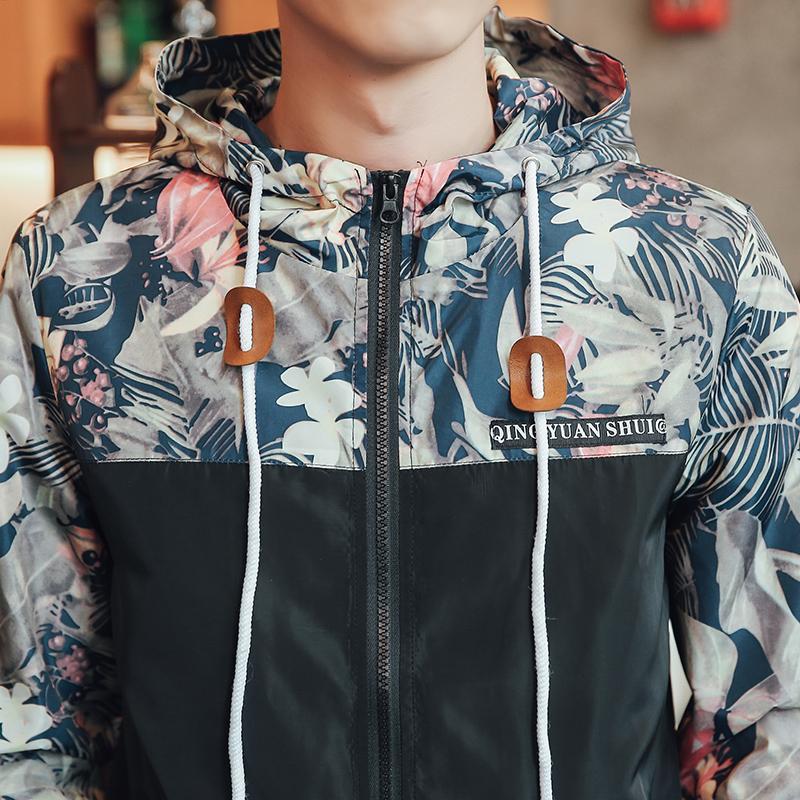 Großhandels-koreanische Art-Männer Jakcet Mantel-Blumendruck mit Kapuze Windbreaker Jackets Male 2017 Frühling Sommer Patchwork Casual Herren Jacken 3XL