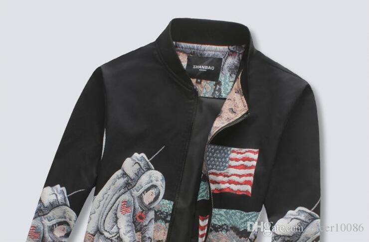 Wholesale Fashion New Men Casual Bomber Jacket Slim Fit Moon ...