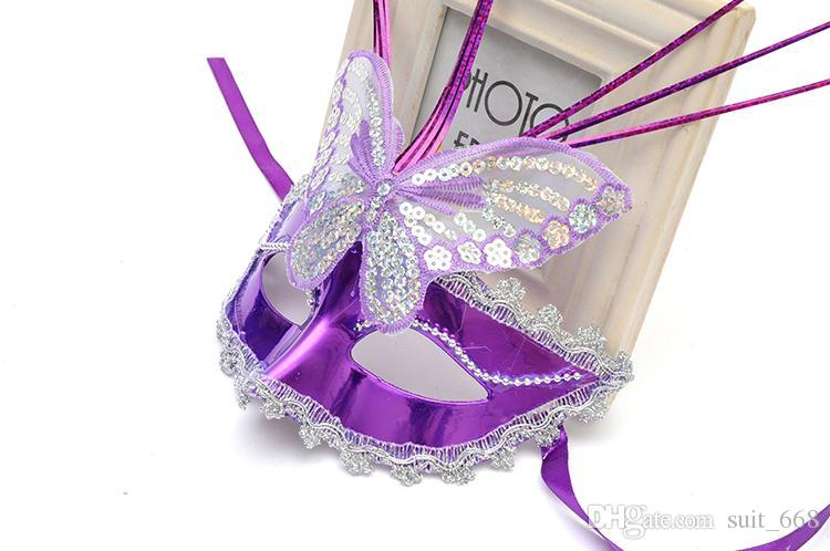 Children's half-face mask dance party Venice princess makeup female luminous butterfly mask feather fiber