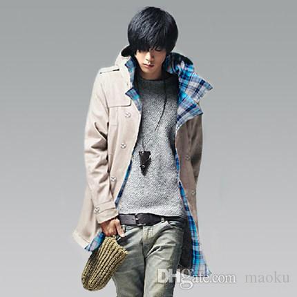 Ropa de otoño al por mayor de los hombres con una capucha de moda abrigo delgado delgado medio-largo foso masculino