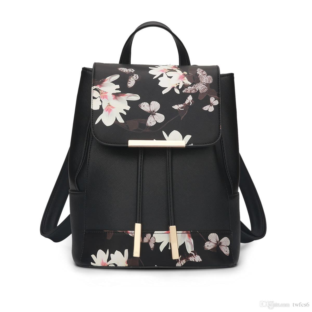 New fashion trendy girl student pretty butterfly feather black backpack schoolbag young ladies high quality good shape backpack bag