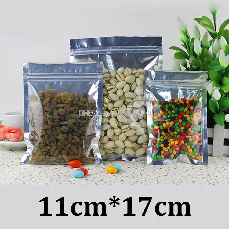 11x17cm um lado claro de alumínio de prata plástico folha de grau alimentício embalagens ziplock sacos invioláveis