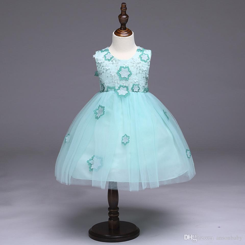 2018 Baby Girl Party Tutu Dress Mint Green With Pink Rose Girl ...