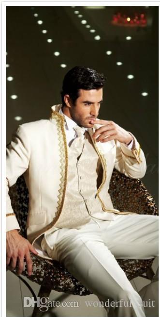2015 vintage stand colletto ricamo abiti da uomo Groomsmen suit smoking per uomo da uomo Abiti da sposa tre Peice Suit (Jacket + Pants + vest + tie))
