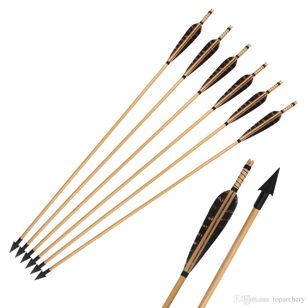 꿩 깃털 곡궁 또는 롱 보우를위한 A-806 브로드 헤드의 150grain 나무 화살표 양궁 사냥 화살표