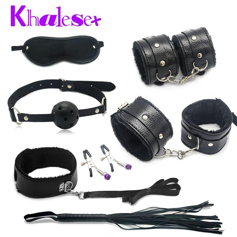 Sex Bondage Kit Fetish Restraint Women Adult Games Foot Handcuff for Couple Ball Gag Nipple Clamps Whip Collar Blindfold Sex Toy q4201