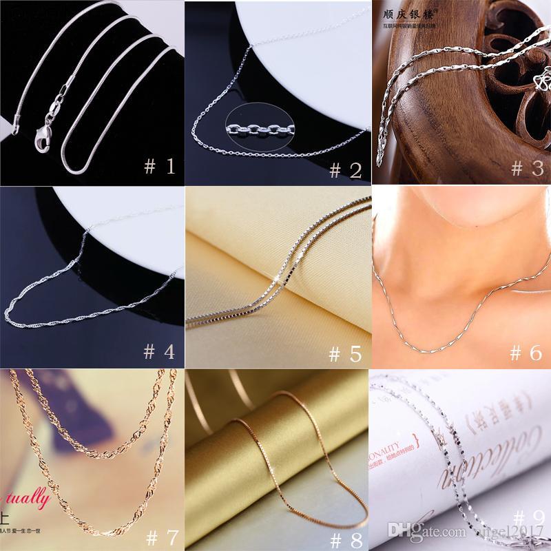 Le plus bas prix 925 Sterling Silver Box chaîne colliers bijoux TOP qualité 1mm 2.6g 18 polegada 925 Sterling chaînes d'argent 100 pcs bijoux de mode