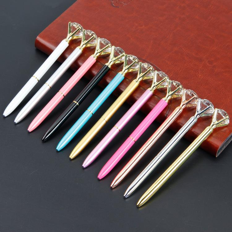 Новый большой алмаз ручка металл Кристалл ручка хрустальное стекло Алмаз концерт шариковая ручка