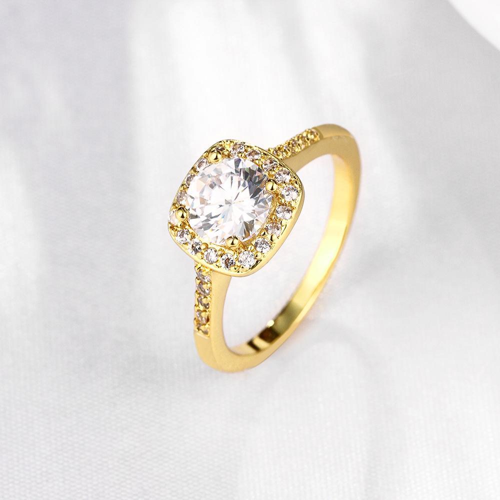 Engagement Schmuck 18k Rose Gold überzogen Würfel Zirkon Kristall Fingerring