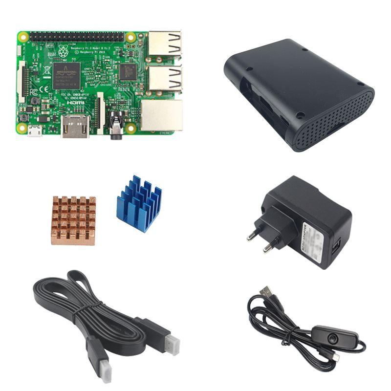 Freeshipping Raspberry H-D-MIPI3 Kit con Raspberry PI 3 Modello B 5V 2.5A Adattatore di alimentazione Adattatore con cavo dell'interruttore Cavo di calore ABS Case 1.5 Cable