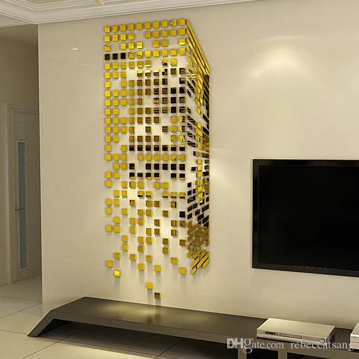 3D Mirror SurfaceWall Stickers Artical DIY Wall Decoration for ...