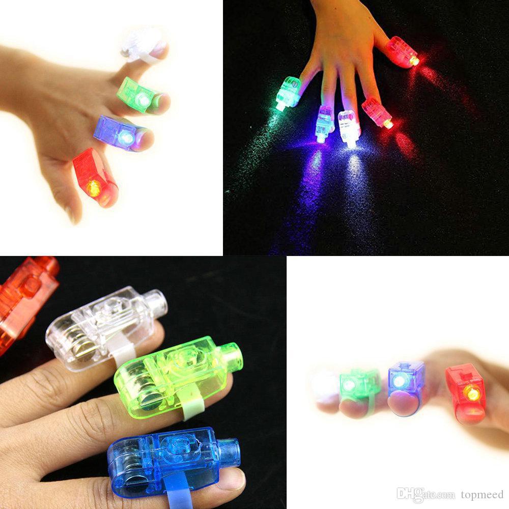 X1000pcs الجدة الكمامة اللعب أدى فنجر ضوء متوهجة انبهار اللون الليزر انبعاث حلقة ضوء المتابعة لعب للأطفال هدايا عيد