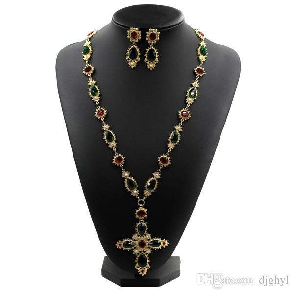 New famous design Austrian crystal Metal chain colorful stone pearl cross long sweater necklace vintage baroque necklaces free shipping