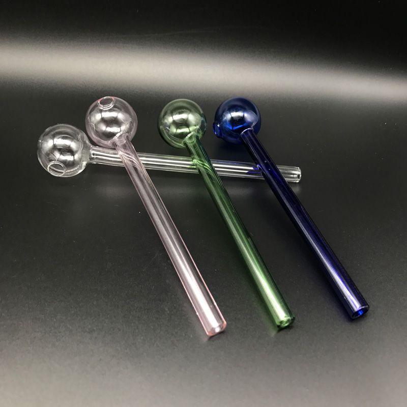 흡연 액세서리 6.0Inch 15CM 길이 파이렉스 유리 석유 버너 파이프 클리어 핑크 블루 그린 저렴한 유리 석유 버너 파이프 물 손 파이프