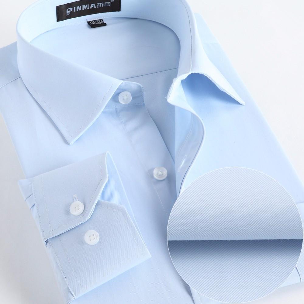 الجملة - القمصان الرجال الاجتماعية 2020 الربيع الرسمي غير الحديد اللباس قميص الصلبة طويلة الأكمام الأعمال أزياء رجالي القمصان مع زر x020