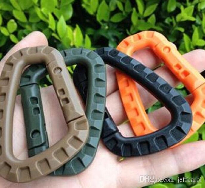 100pcs D Shape Mountaineering Buckle Snap Clip Plastic Steel Climbing Carabiner Hanging Keychain Hook Fit Outdoor Army EDC