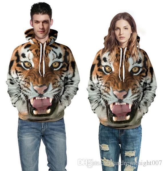 Homens Mulheres Hoodies Hip Hop Moletom Engraçado 3D Tigre Leão Gato Leopardo marca de Moda Plus Size 3XL Moletom Com Capuz homens Treino Unisex Pullovers