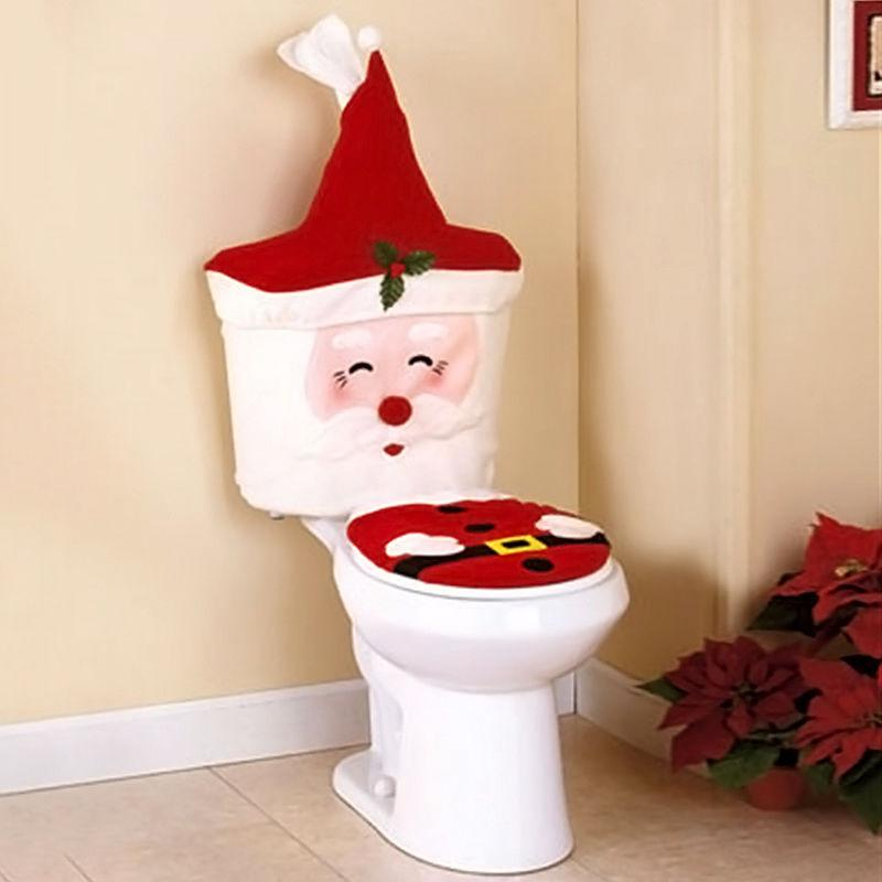 Wholesale-New 2Pcs/Set Christmas Santa Claus Toilet Seat Cover And Paper Tissue Box Case Holder For Home Bathroom Decoration