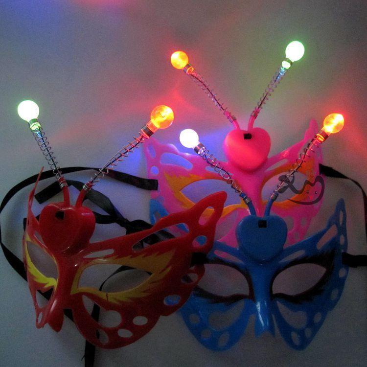 빛나는 나비 만화 곤충 절반 얼굴 마스크 필수 메이크업 마스크 파티 성능 발광 장난감 도매