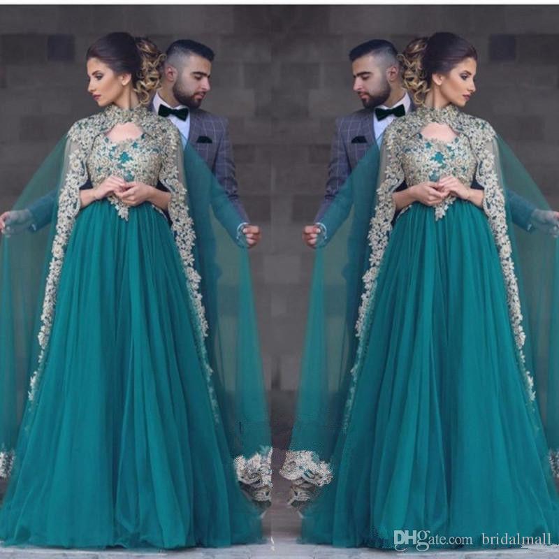 Hunter Green Lace Applique Arabischen Abendkleider Mit Cape Dubai Afrikanische Formale Party Kleider Kftan Promi Pageant Prom Kleider Plus Größe