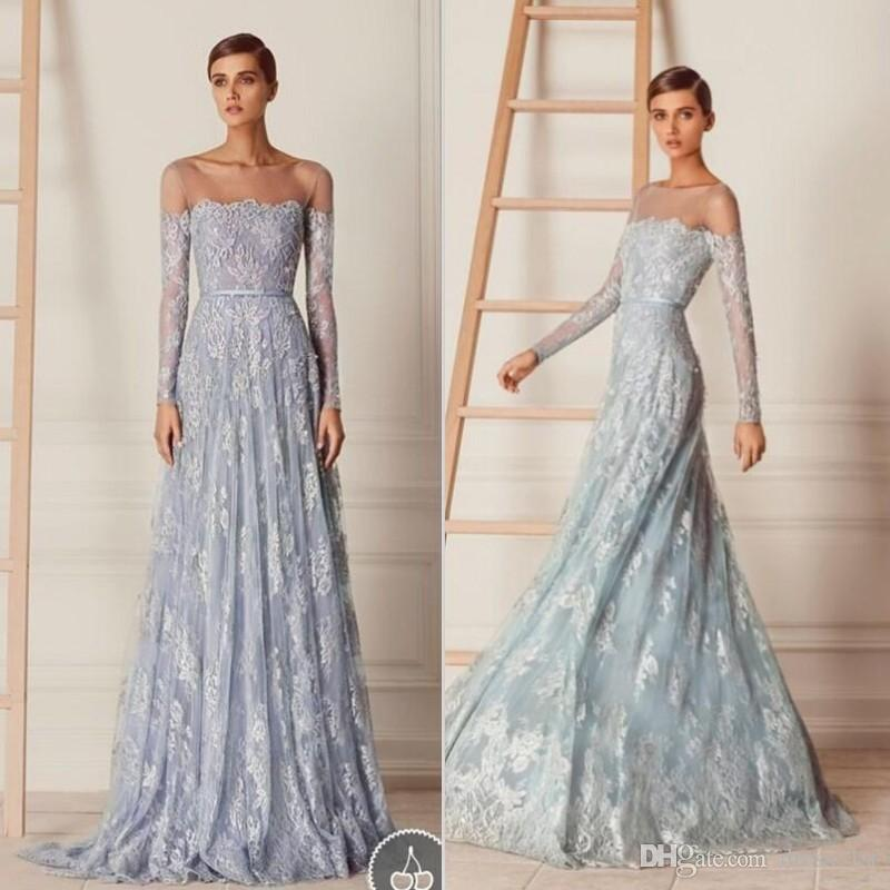 Paolo Sebastian 2017 Lace Long Sleeve A-line Prom Dresses Cheap Sheer Neckline Applique Long Formal Party Gowns Custom Made EN11298