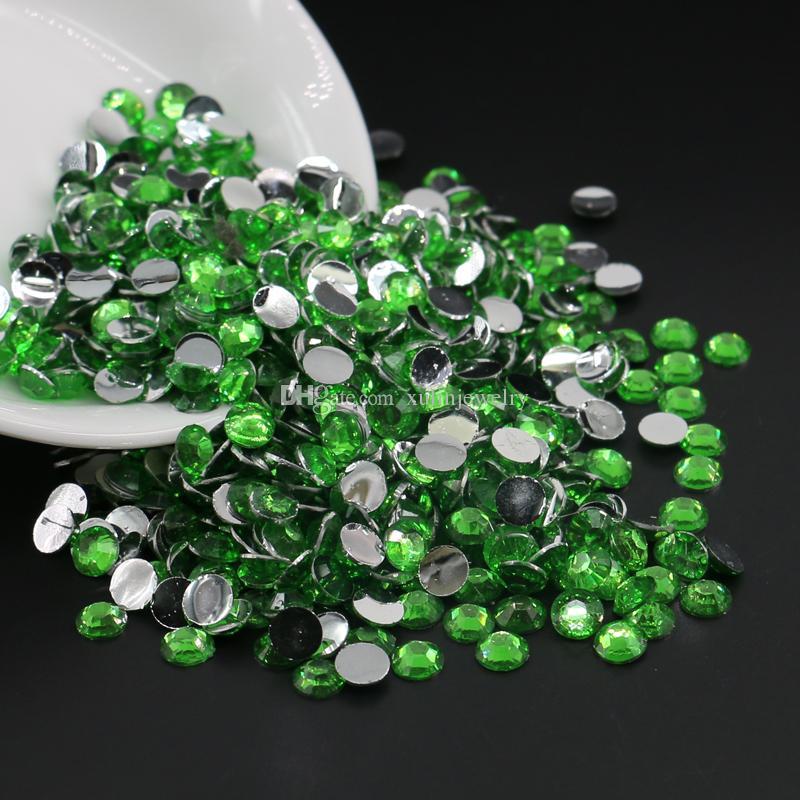 All Size Peridot Resin Rhinestones, 14 Facets Flatback Resin Beads, DIY Deco Bling Rhinestones 3mm,4mm,5mm,6mm