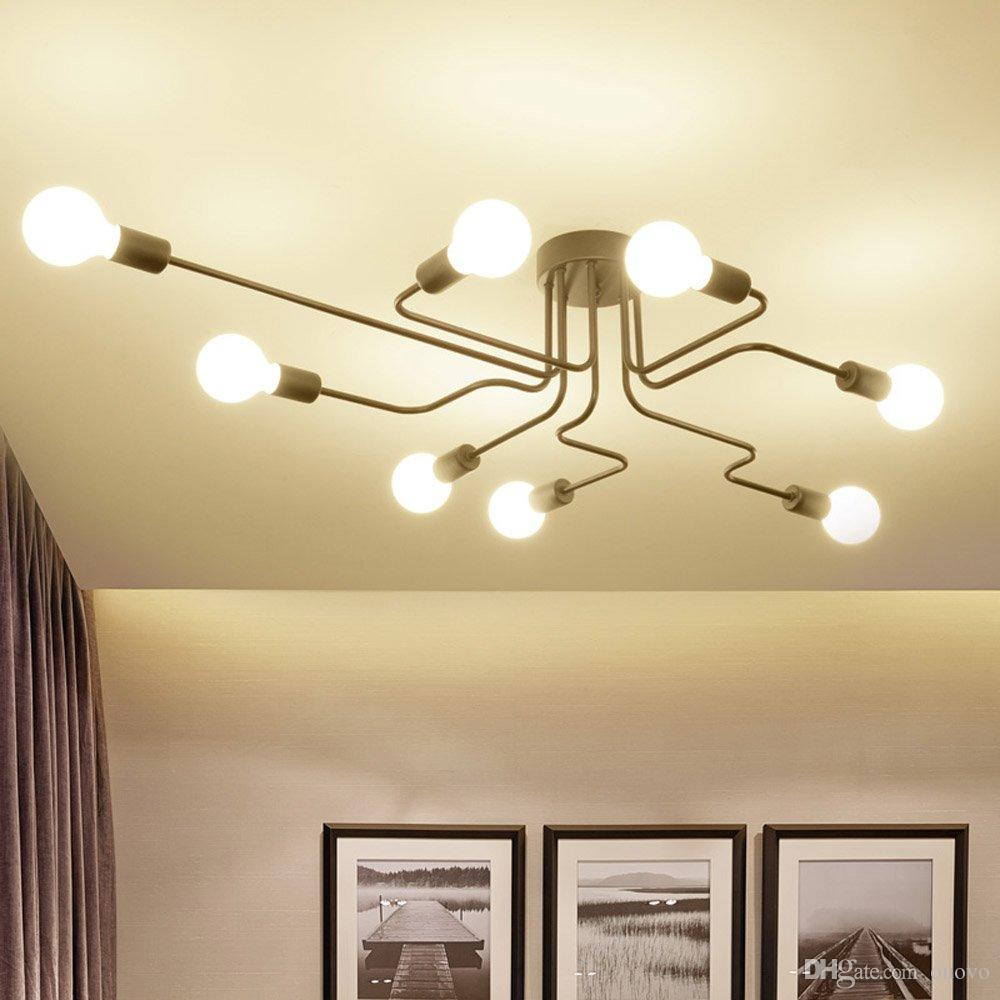 Creative Personality Iron Living Room Ceiling Lamp Retro Bedroom Spider Ceiling Light Modern Simple Nordic American Corridor Ceiling Lights