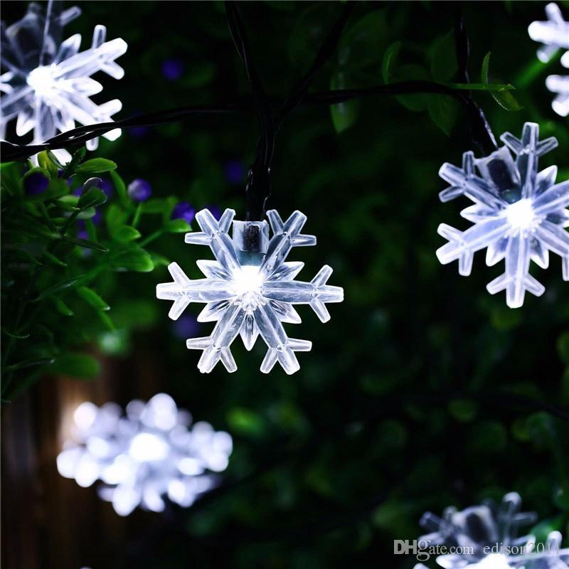 Edison2011 Yeni 20 LED Snow Flake Çiçekler Güneş String Peri Su geçirmez Açık Güneş Işıklar dekore Bahçe Noel Işıklar varmak