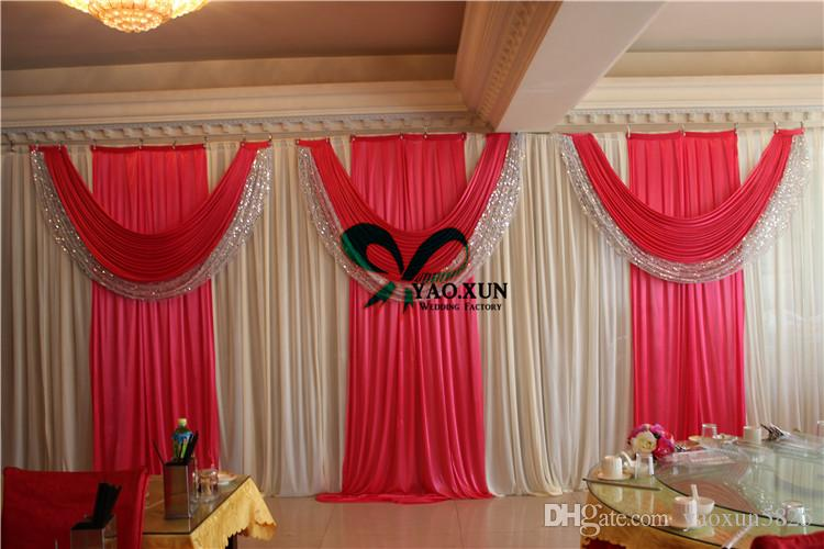 One Full Set 10ft*20ft Ivory Wedding Backdrop Drape Curtain And Fuchsia Color Drape Swag With The Backdrop Stand \ Pipe Stent