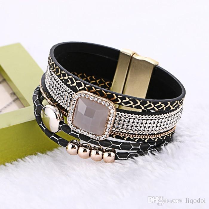 2017 nuovi braccialetti di cuoio magnetici a più strati del Rhinestone di modo braccialetti con il braccialetto Handmade della Boemia largo per il regalo delle donne
