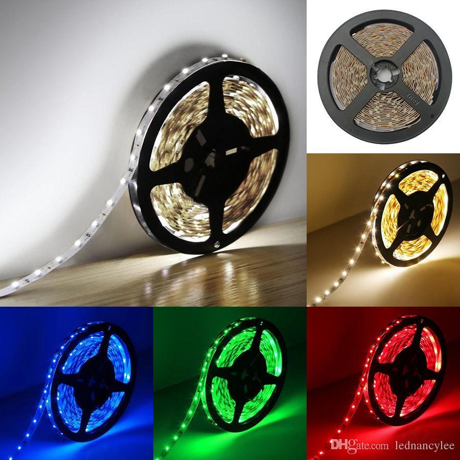 LED-Streifen-Licht RGB flexibles Band warmweiß rot grün blau 5M Rolle 300 LEDs 3528 5050 5630 12V nicht wasserdichtes LED-Farbband