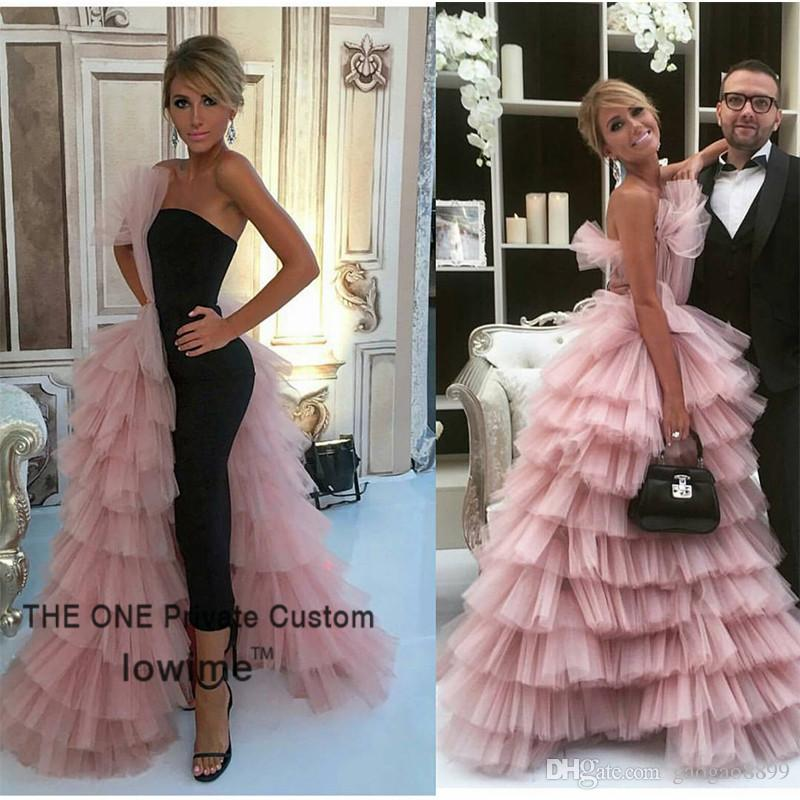 Unique Design Black Straight Prom Dress 2019 Couture High Quality Pink Tulle Tiered Long Evening Gowns Formal Women Party Dress